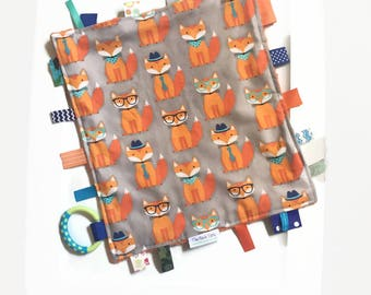 Baby Boy Blanket with Ribbon Tags - Fox Woodlands