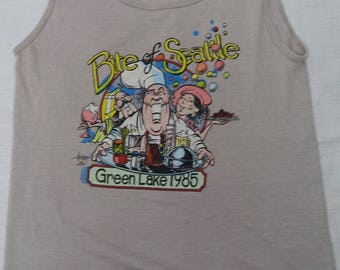 Vintage BITE OF SEATTLE 80's Tank Top Green Lake 1985 Chef Foodie Restaurant Shirt