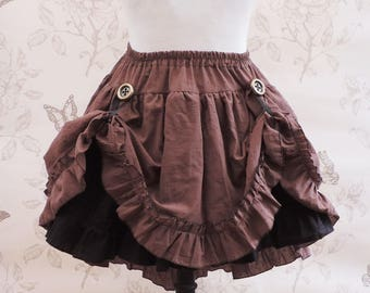 Brown steampunk skirt-brown black skirt -tribal fusion skirt -embroidered skirt- steampunk clothing- pirate- saloon-western skirt-country