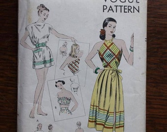 Vogue 1950 Sewing Pattern 6081 Open Back Summer Halter Size 12-16 Factory Fold Unused VINTAGE by Plantdreaming