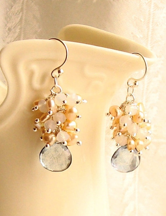 Blue Quartz Briolette and White Crystal Rondelles, Rose Brown and Peach Keshi Pearl Cluster Silver Earrings -Bridal / Wedding Jewelry