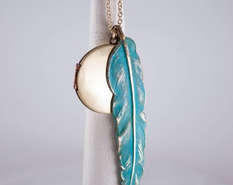 Vintage Locket and Blue Feather Necklace, Feather Long Chain Locket, Copper Pendant, Peacock Locket
