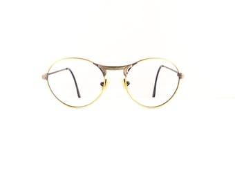 90s Off Round Eyeglasses Sunglasses Unisex Vintage 1990's Gold & Gun Metal Frames DIVINE (EB)