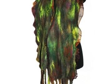 Handmade Nuno Felted Scarf Textured Earthy Color Felt Scarf OOAK Felt Gift Winter Accessory