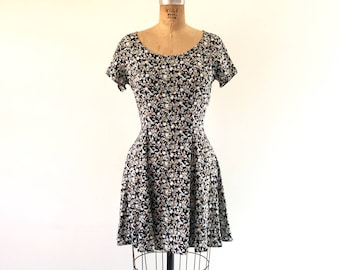1990s Mini Dress Vintage Blue Ditzy Floral Print Corset Waist Scooter Summer Day Guess Dress S/M