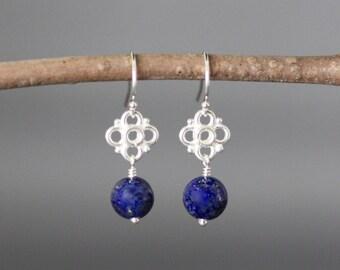 Lapis Earrings - Bali Silver Earrings - Blue Lapis Earrings - Lapis Lazuli Earrings - Silver Wire Wrapped Earrings - Bridal Jewelry - Gift