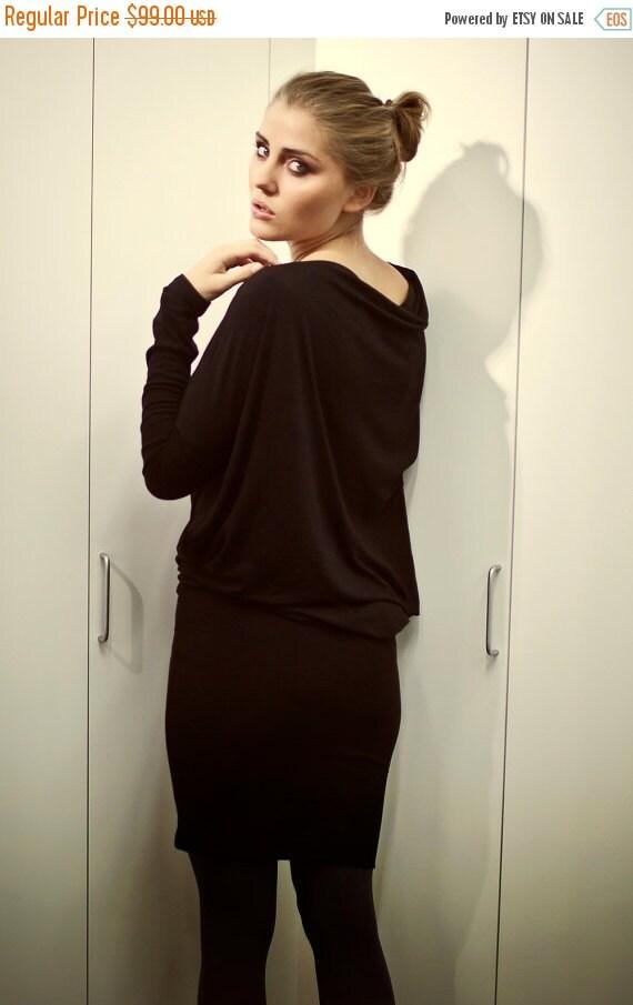 SALE - LeMuse black viscose asymmetric Evening dress