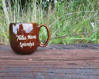 Souvenir Mug KavaCraft Hawaii Tutu Kane Grandpa Brown Ceramic
