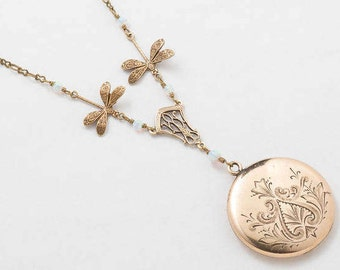 Victorian Locket, Antique Locket Necklace in Gold Filled with Leaf Engraving, Opal, Filigree, Dragonfly Pendant & Photo Vintage Jewelry Gift