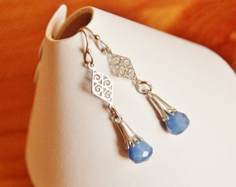 Sterling silver and blue Agate earrings dangle drop long stylish elegant classy classic stone gemstone natural fancy charm jewelry boho chic