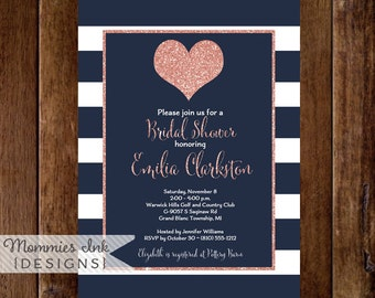 Rose Gold Heart Invitation, Navy and White Stripes Invite, Heart Invite, Bridal Shower Invitation, Shower Invite, Rose Gold Glitter Invite