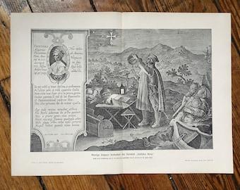1900 AMERIGO VESPUCCI EXPLORER - original antique print - celestial astronomy historical lithograph