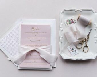 Letterpress modern calligraphy wedding invitation suite with bespoke venue illustration. Dusky pink and gold fine art wedding