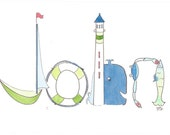Personalized Nursery Wall Decor, Custom Name Painting, Sea Life, Nautical, Whale, fish, John, Caleb, Finley, Sam, Watercolor, Illustration