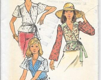 BUTTERICK 3554 UNCUT Size 14 Wrap Top Blouse Shirt Peplum Flared Long Short Sleeves Yoke Boho Retro Peasant Hippie Vintage 1970's Pattern
