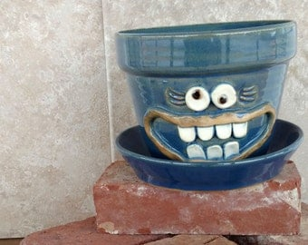 Herb Planter. Herb Gardening. Fun Face Pots. Gifts for Mom. Indoor Outdoor Gardening Stoneware Pot. Cobalt Blue