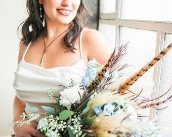 Feather Boho Headband, Wedding Headband, Bridal Headpiece, Boho Bride, Leather Headband, Feather Head Piece, Wedding Head Piece