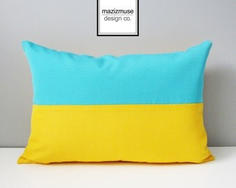Ukraine Flag Pillow Cover, Decorative Blue Yellow PIllow Cover, Ukrainian Yellow Blue Color Block, Turquoise Sunbrella Cushion Cover