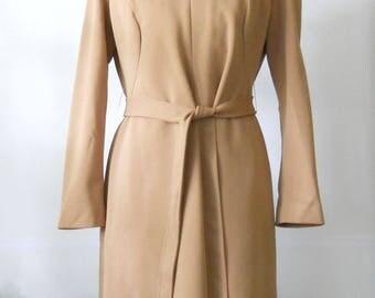 Vintage Paul of California Dress • 1970's Modern A Line Office Dress • Brown Polyester Dress