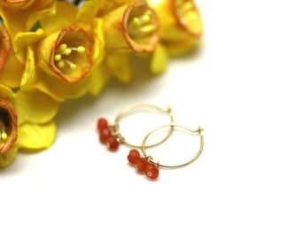 Small Gold Hoop Earrings with Rich Orange Carnelian Gemstones | Minimal, Feminine Jewelry | Light, Comfortable Earrings by Azki