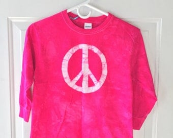 Kids Peace Sign Shirt, Hot Pink Peace Sign Shirt, Girls Peace Sign Shirt, Fuchsia Peace Sign Shirt, Girls Peace Shirt (Youth S)
