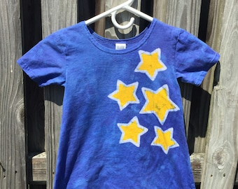 Girls Star Dress, Blue Girls Dress, Batik Star Dress, Batik Girls Dress, Night Sky Dress, Constellation Dress, Yellow Star Dress (4T)