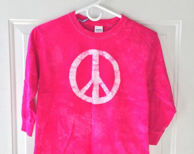 Kids Peace Sign Shirt (Youth S), Pink Peace Sign Shirt, Girls Peace Sign Shirt, Fuchsia Peace Sign Shirt, Girl Peace Shirt