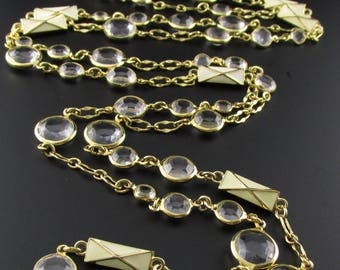 Long Enameled Gold Necklace, Faux Crystal Necklace, Enameled Link Necklace