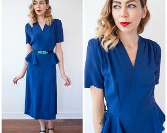 Vintage 1940's Blue Rayon Peplum Dress/ 40's Rayon Fitted Short Sleeve Dress/ Wiggle Dress Size Small