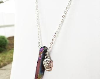 Sugar Skull Necklace, Sugar Skull Jewelry, Rainbow Quartz Necklace, Crystal Skull Jewelry, Rainbow Aura Quartz, Rainbow Titanium Crystal