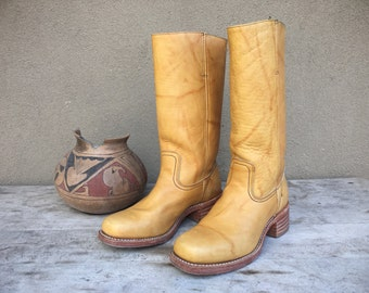 Vintage Frye Women's size 10M (run narrow) Made in USA yellow banana campus boots, vintage women's motorcycle boot, women's Frye campus boot