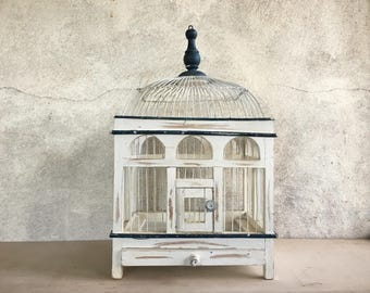 Distressed French Country vintage bird cage wood metal, decorative bird cage, cottage chic bird house, rustic decor wedding, white birdcage