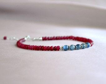Genuine ruby bracelet, sterling ruby bracelet,ruby and kyanite bracelet, july birthstone, kyanite bracelet