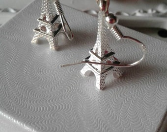 Eiffel Tower Earrings,Silver 925,Silver Eiffel Tower Earrings