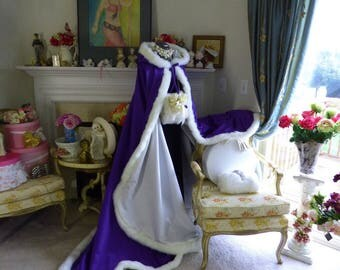 Beauty and the Beast Bridal Cape 52/67-inch Royal Purple / Ivory Satin with Fur Trim Wedding Cloak Handmade in USA
