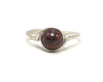 Brecciated Jasper Argentium Sterling Silver Wire Wrapped Ring
