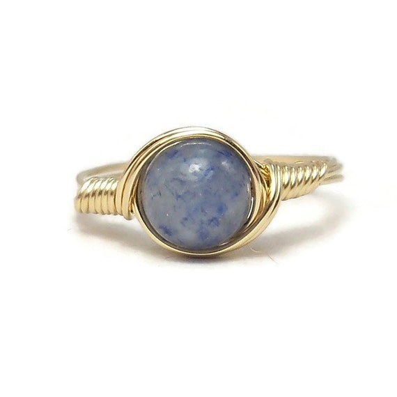 Blue Aventurine 14k Yellow Gold Filled Wire Wrapped Ring