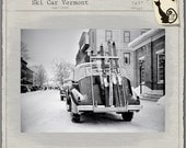 """1930s Ski Car, Winter Holiday, 7x5"""" Snow Town Poles Rack Skiing Skier, black & white silvertone Printable Download Old Auto Vintage Photo"""