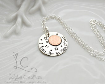 I Love You to Mars and Back Necklace, Hand Stamped Necklace, Mars Necklace, Sterling Silver Hand Stamped Jewelry, Mothers Day Necklace