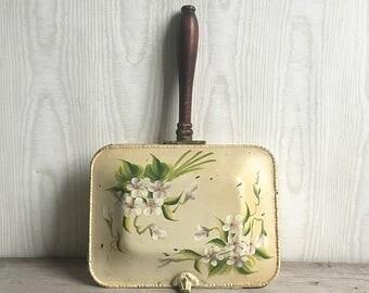 Vintage Silent Butler Crumb Catcher Toleware Floral Wood Handle Shabby Chic Cottage