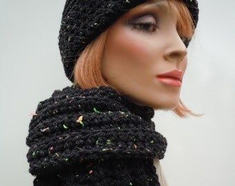 Hat and scarf set, black hat scarf, womens hat scarf, cold weather set, neon colors, warm hat and scarf, crochet hat scarf