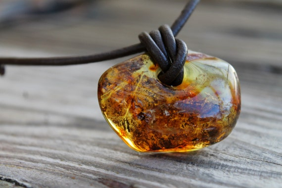 Butterscotch Baltic Amber Pendant Yellow Raw Stone Charm For Man Unisex Jewelry Rustic Gift for him Dad Father's Day