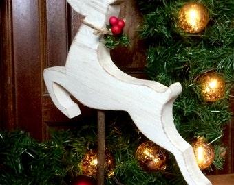 Rustic Reindeer Christmas Decor Flying Deer