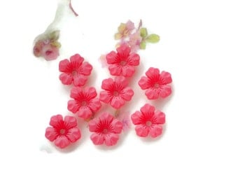 Vintage Flower Beads,Lucite beads,13mm Flowers,Matte Red flowers,shabby chic, cottage chic,Posey Bead Caps NOS #713