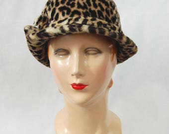 1960s Faux Leopard Fur Hat - Faux Leopard Fur - Faux Fur Hat - Leopard Fur // Early 1960s Cloche