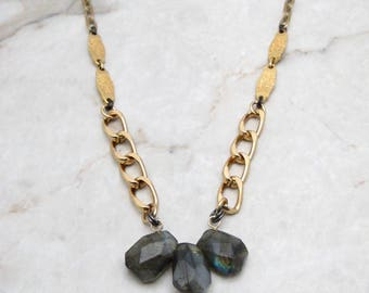 Chunky Chain Link. Large Labradorite. Bold Chain Necklace. Big Labradorite Pendant. Bold Chain. Chunky Link Necklace. TaraLynEvans. EVA