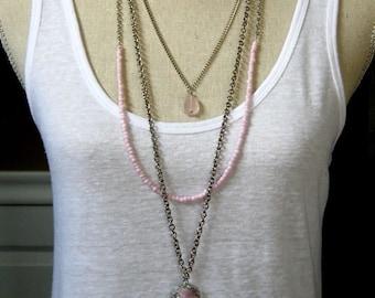 Long multi strand Pink Drusy pendant rose quartz necklace
