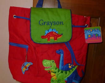 Monogram DINOSAUR Personalized Stephen Joseph Dino Toddler Kids Preschool Backpack Tote Easy Ordering