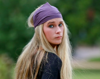 Plain Headband, Eggplant Purple Headband, Ladies Head Scarf, Solid Head Wrap (#4602) S M L X