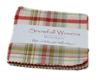 SNOWFALL WOVENS Moda Fabric 2 charm packs Christmas shabby quilt sewing 100% cotton Minick Simpson precuts 5 in squares